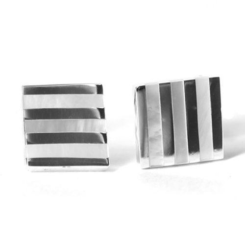 Pearl Stripped Silver Cufflinks