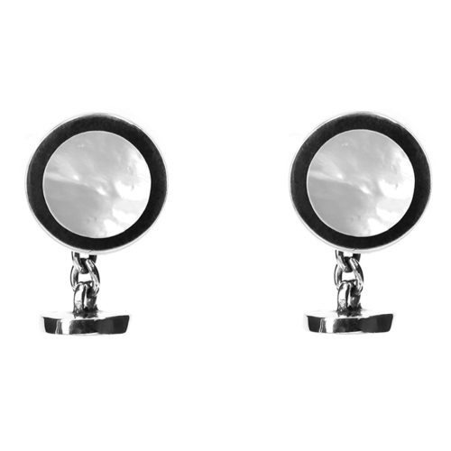 Silver circular cufflinks with mother of pearl