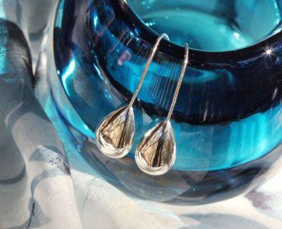 Shiney elegant silver drop earrings