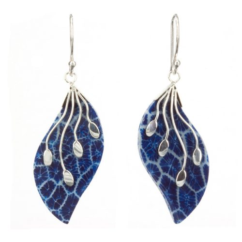 Blue Coral Leaf Earrings
