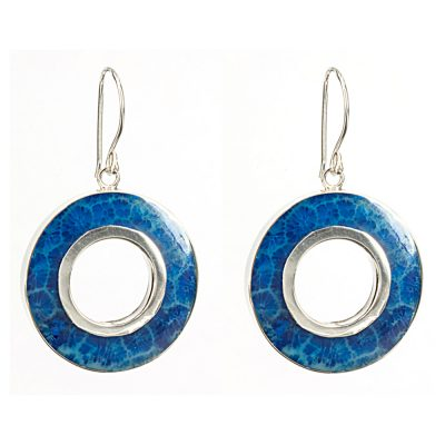 Blue Coral Circle Earrings