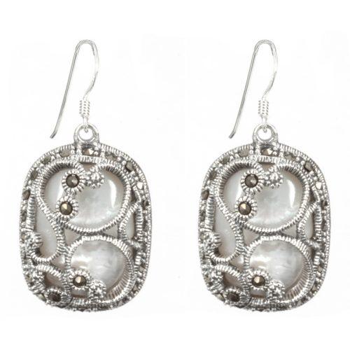 Pearl Wrapped in Silver Earrings