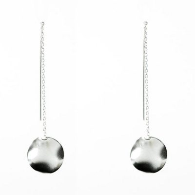 Silver disk & chain earrings