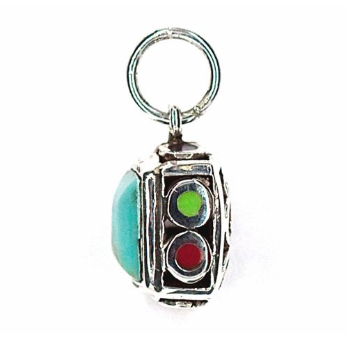 Multi-sided Turquoise & Silver Pendant