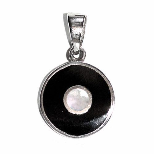Onyx & Pearl Circle Pendant