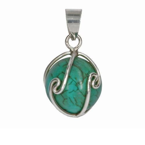 Turquoise Silver Wire Pendant