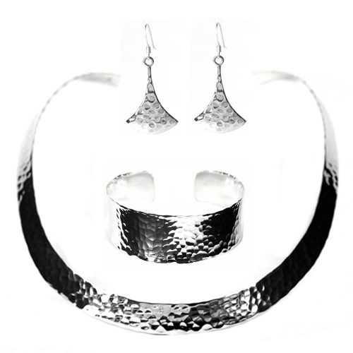 Silver Hammered choker, cuff and earrings
