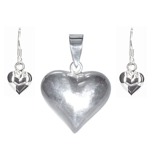 Silver Heart Pendant & Earrings