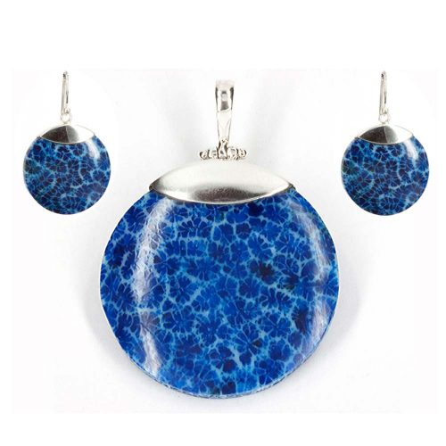 Blue Coral Disk pendant & earrings
