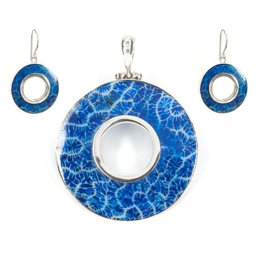 Blue Coral Pendant & Earrings